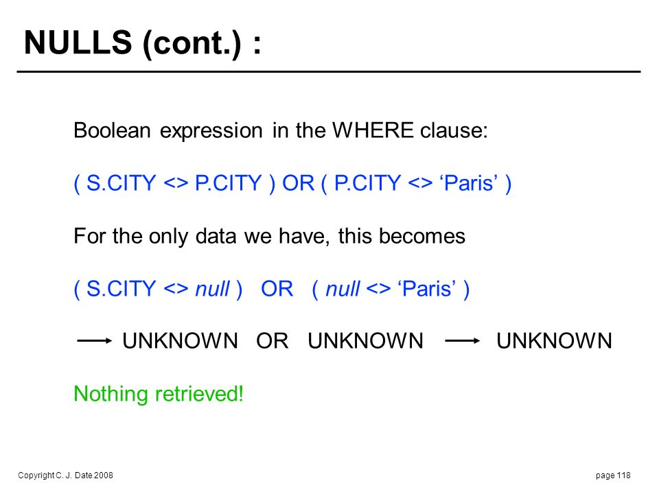 NULLS (cont.) : But part P1 does have some corresponding city … i.e.,