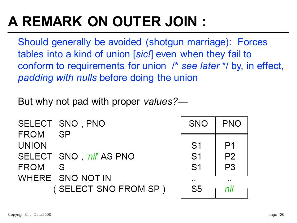 A REMARK ON OUTER JOIN (cont.) :