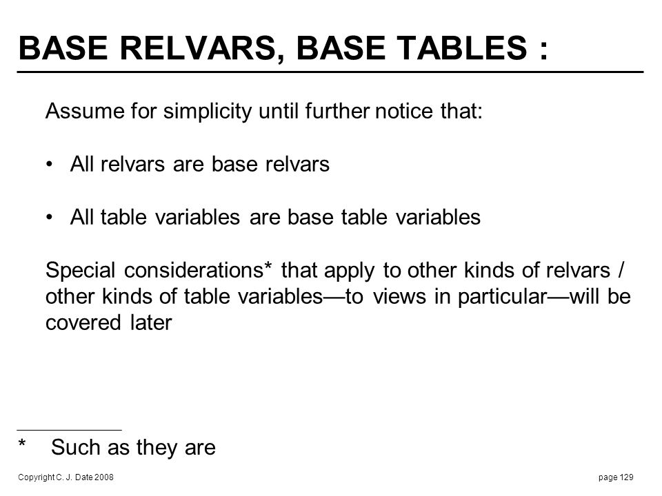 DATA DEFINITIONS : VAR S BASE RELATION CREATE TABLE S