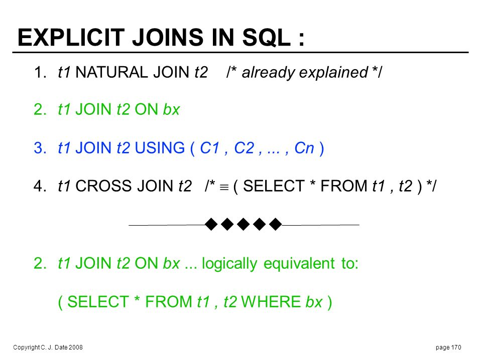 EXPLICIT JOINS IN SQL (cont.) :