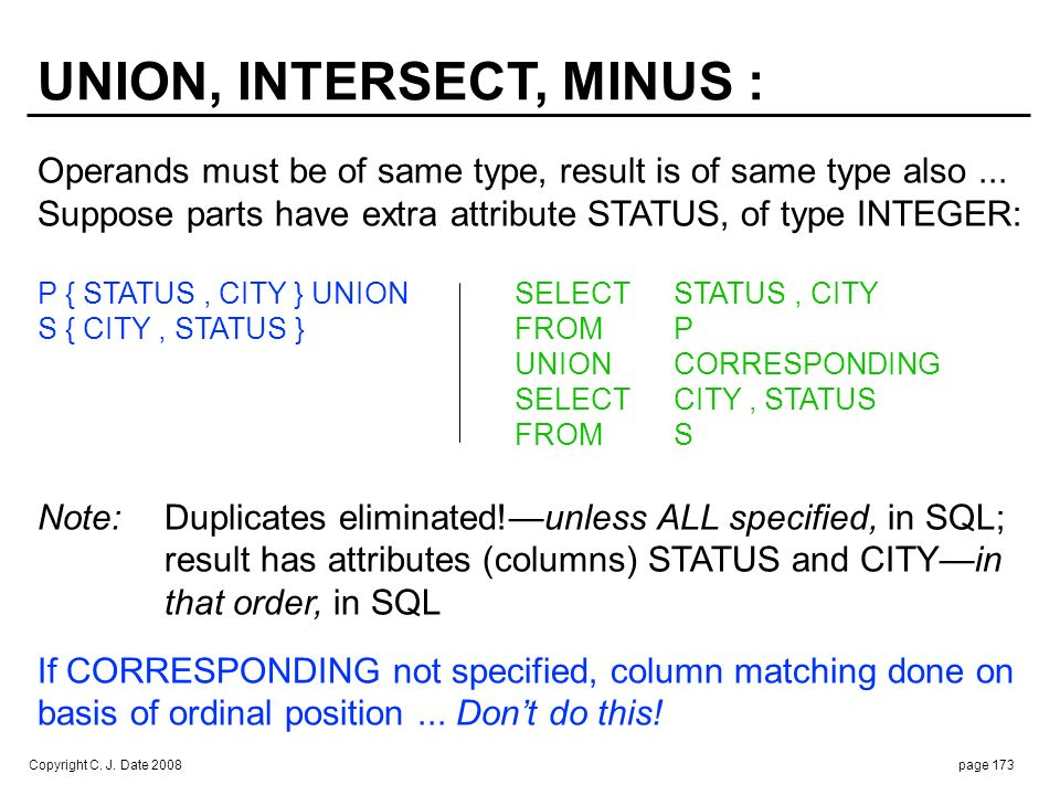 UNION, INTERSECT, MINUS (cont.) :