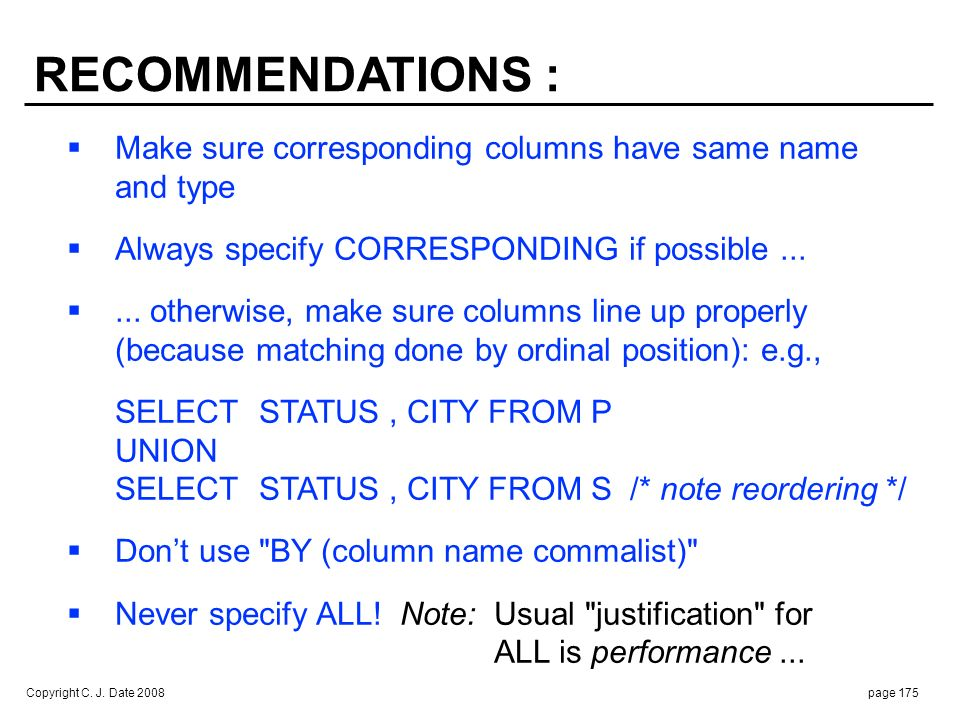 ONE LAST POINT : Tutorial D also supports: Disjoint union (D_UNION)