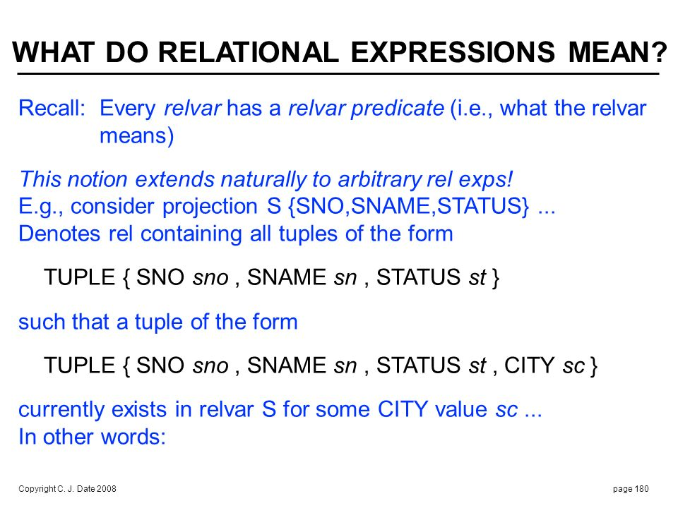 Specified exp denotes current extension of predicate: