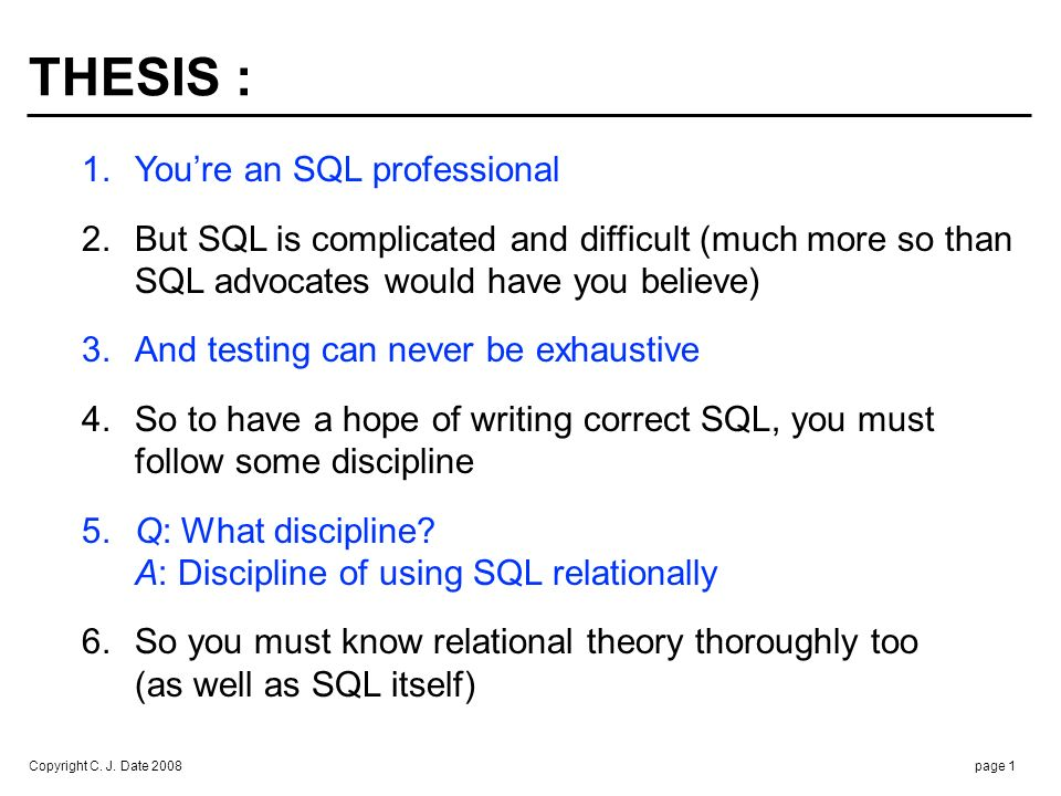 USING SQL RELATIONALLY :