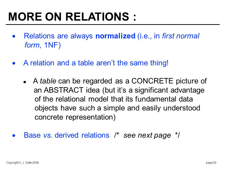 BASE vs. DERIVED RELATIONS :