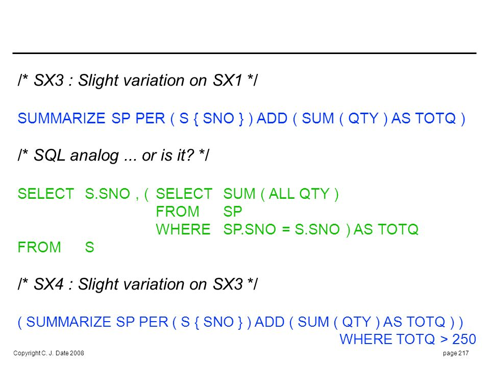 SQL ANALOG /* or is it */ :