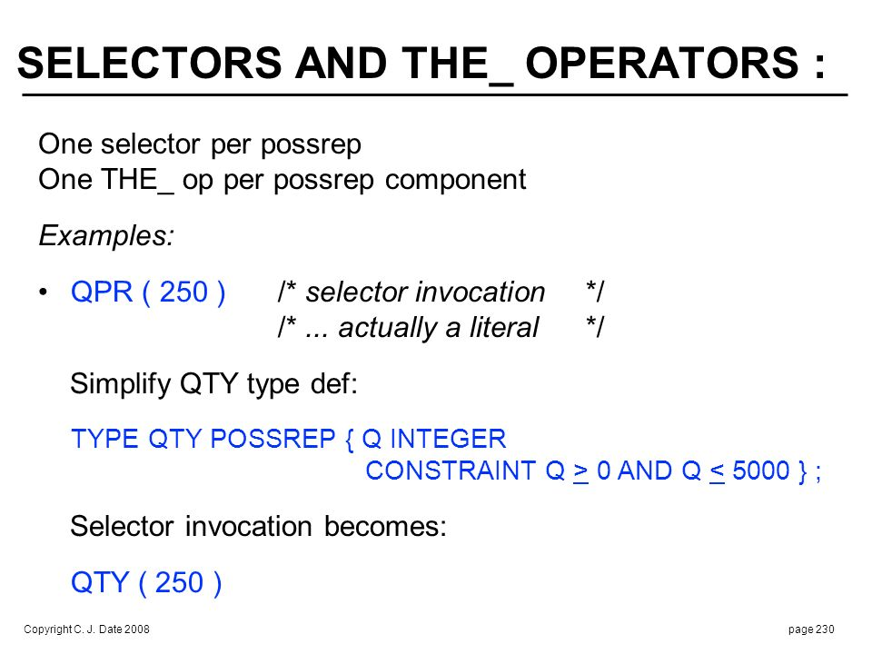 SELECTORS AND THE_ OPERATORS (cont.) :