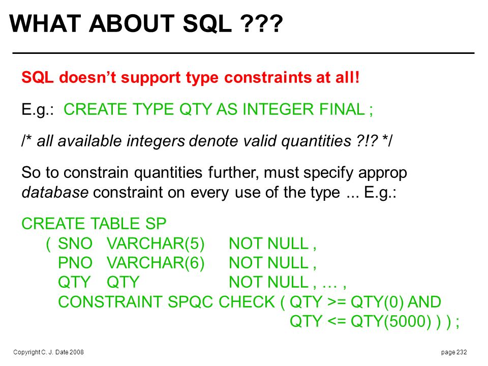 SQL does support selectors and THE_ ops (in effect), but doesn't use these terms and support not entirely straightforward ... Further details beyond scope of this seminar