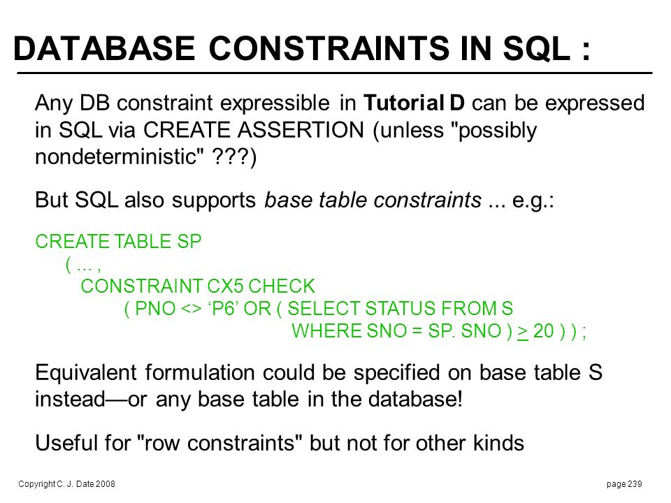 Base table constraint for T automatically satisfied if T is empty (!)