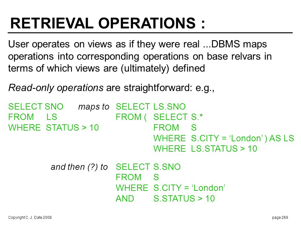 RETRIEVAL OPERATIONS (cont.) :