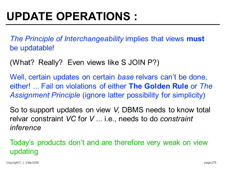 UPDATE OPERATIONS (cont.) :