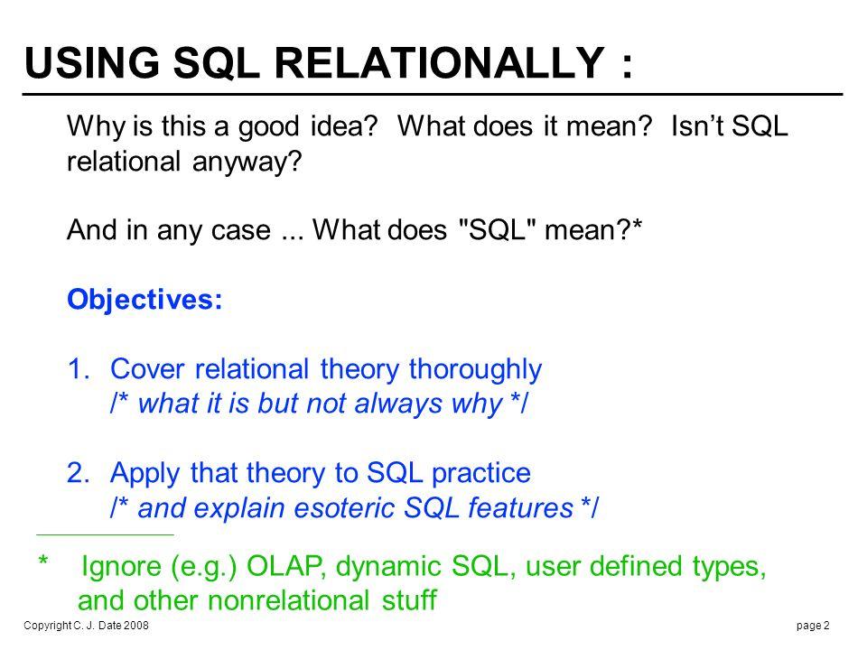 SQL  the relational model !!!
