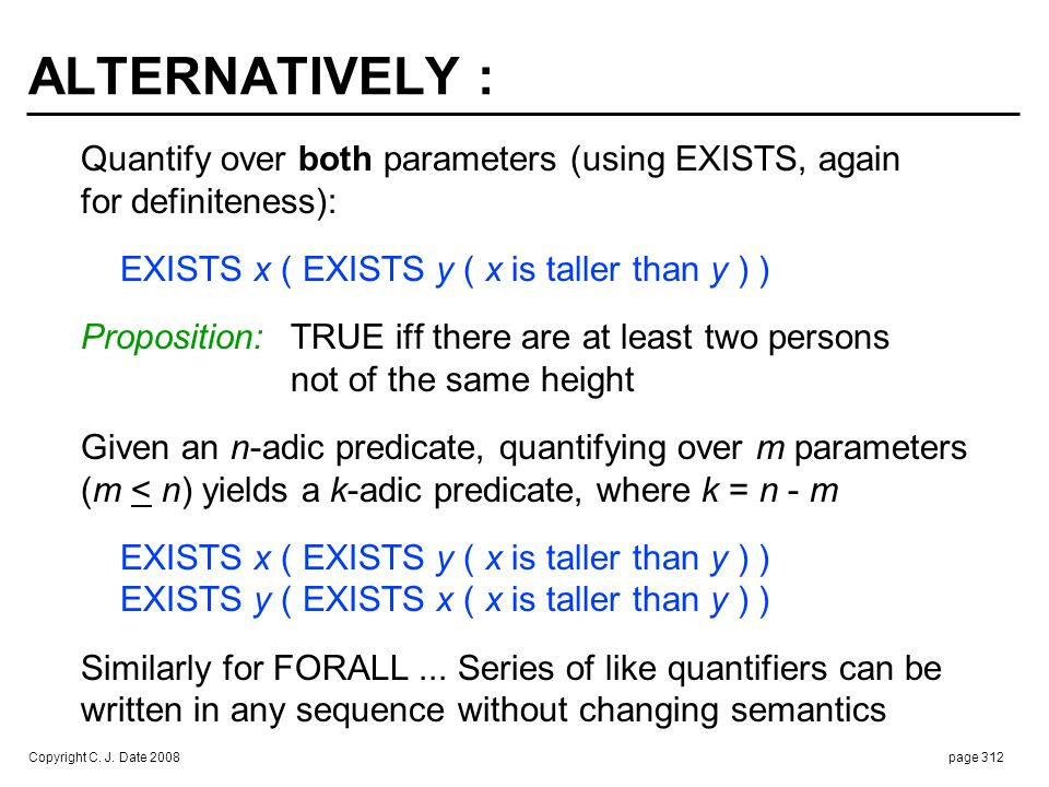 SIX POSSIBLE FULL QUANTIFICATIONS (and six distinct meanings) :