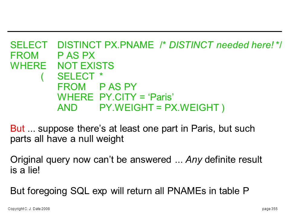WHAT'S MORE : SELECT DISTINCT PX.PNAME FROM P AS PX