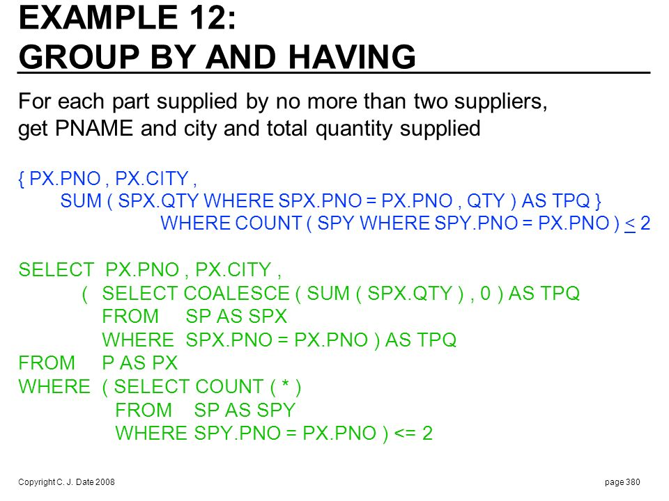 OR : Easier to understand Is PX.CITY in SELECT clause legal