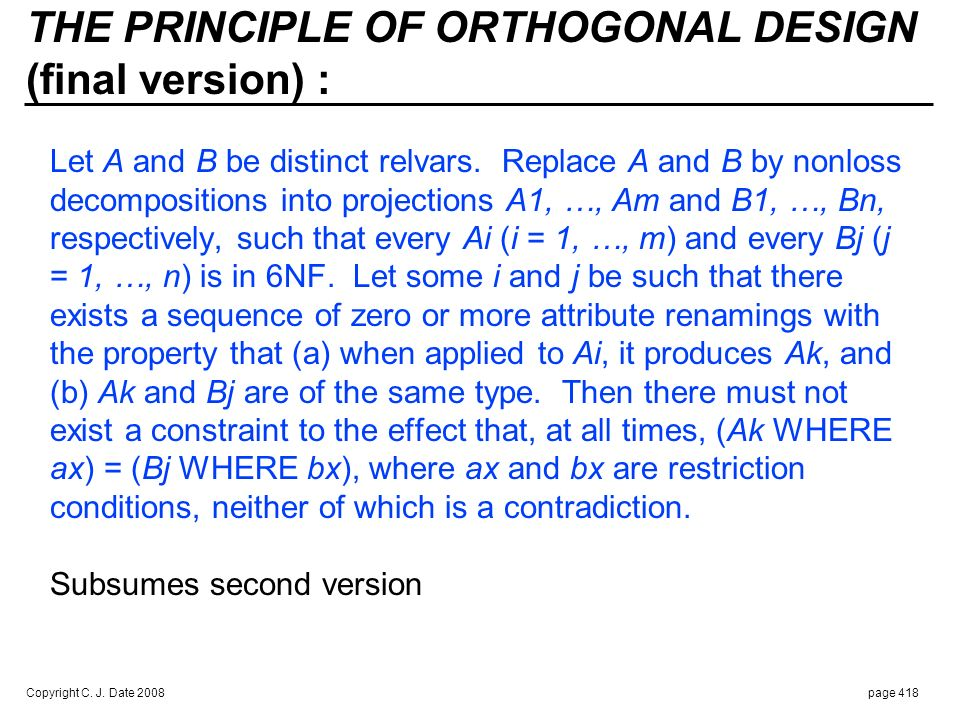 ORTHOGONALITY COMPLEMENTS NORMALIZATION :