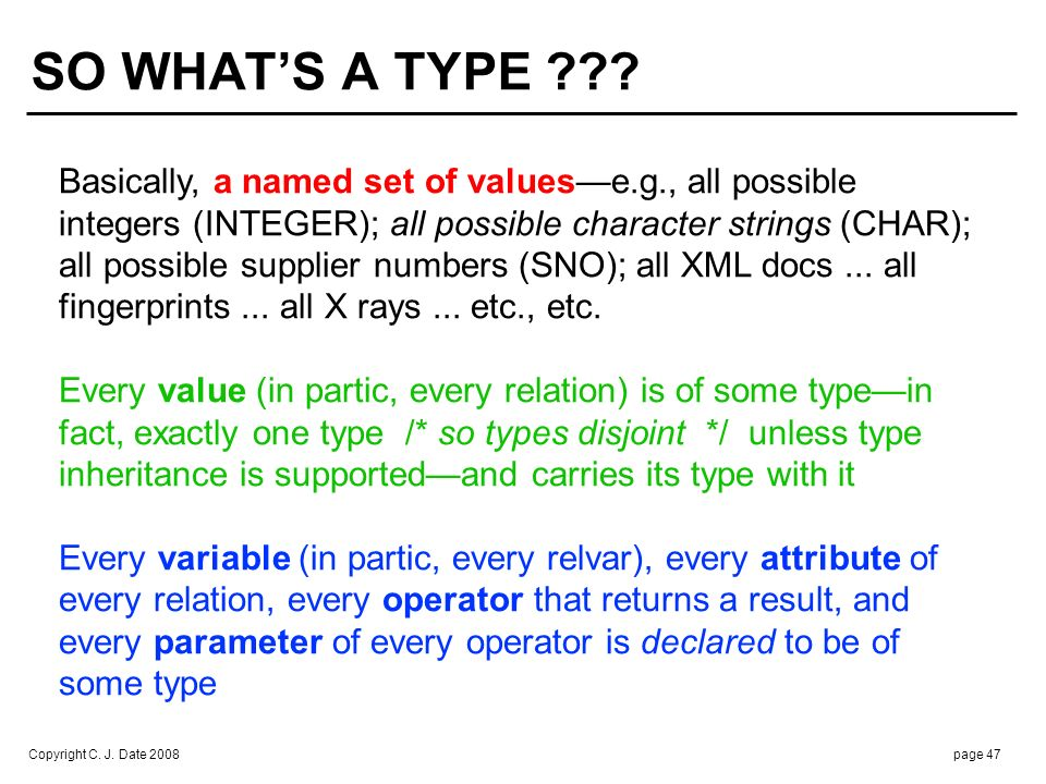To say that variable V is of type T is to say that every value v that can legally be assigned to V is of type T