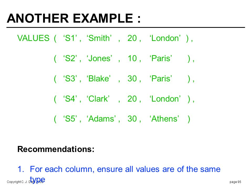 TABLE COMPARISONS No direct support, but workarounds are available ... E.g., SQL analog of. S { CITY } = P { CITY }