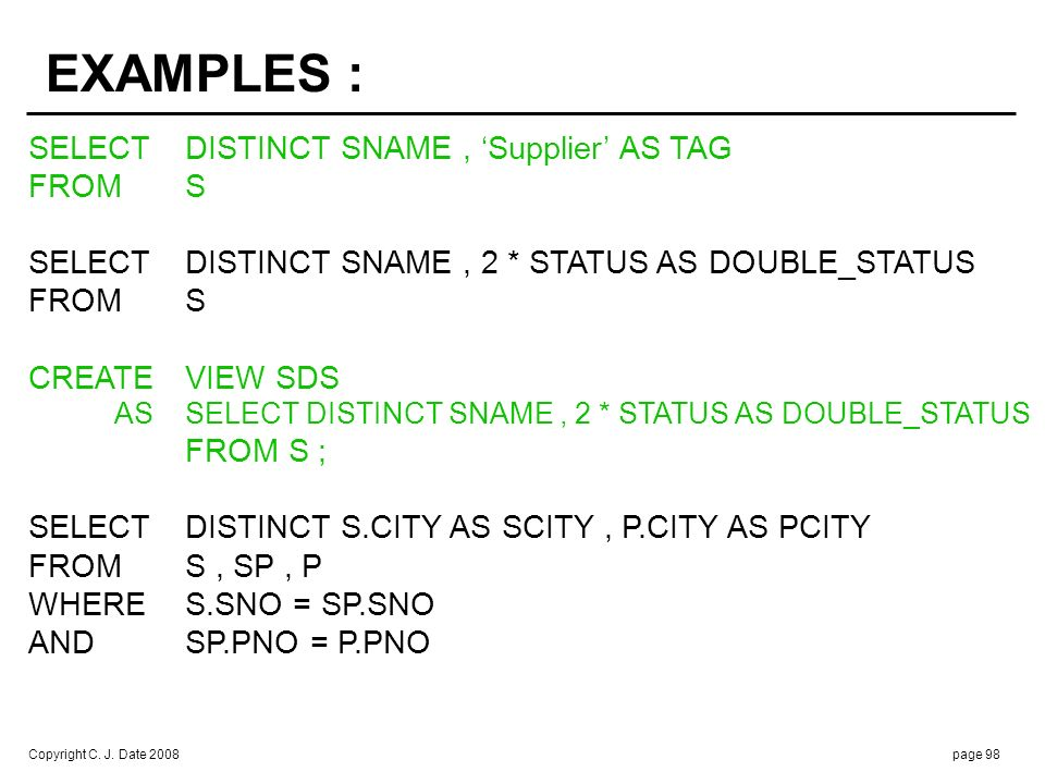 SELECT TEMP.* FROM ( S JOIN P ON S.CITY > P.CITY ) AS TEMP. ( SNO , SNAME , STATUS , SCITY , PNO , PNAME , COLOR , WEIGHT , PCITY )