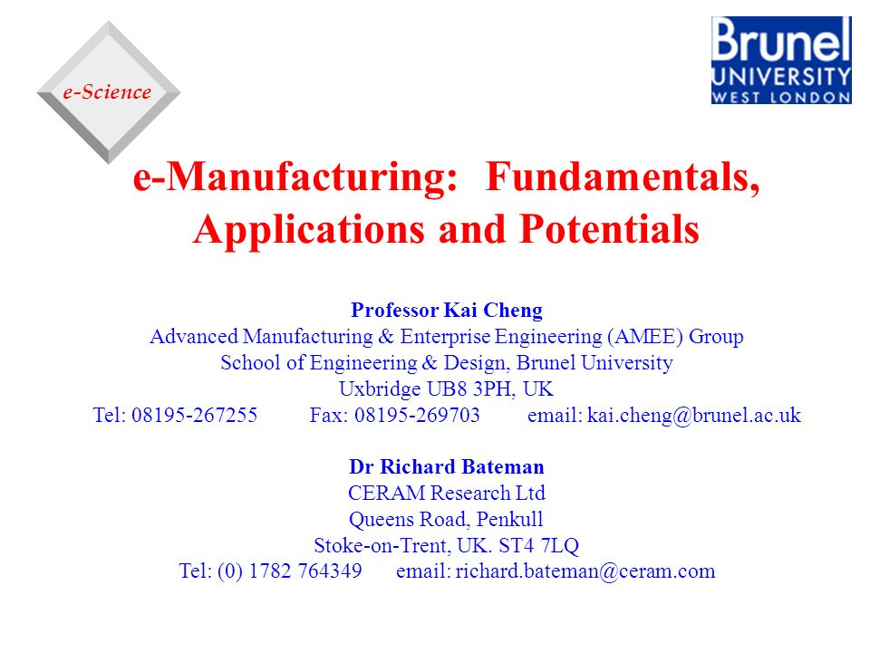 e-Manufacturing: Fundamentals, Applications and Potentials