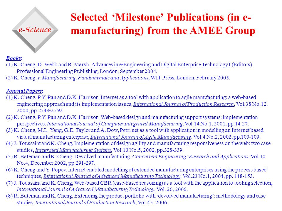 Selected 'Milestone' Publications (in e-manufacturing) from the AMEE Group