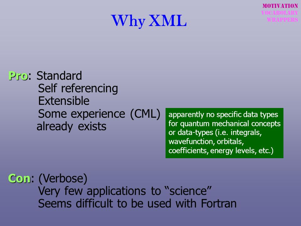 Motivation Vocabolary. wrappers. Why XML. Pro: Standard Self referencing Extensible Some experience (CML) already exists.