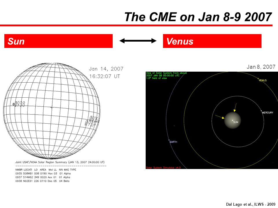 The CME on Jan 8-9 2007 Sun Venus Jan 8, 2007