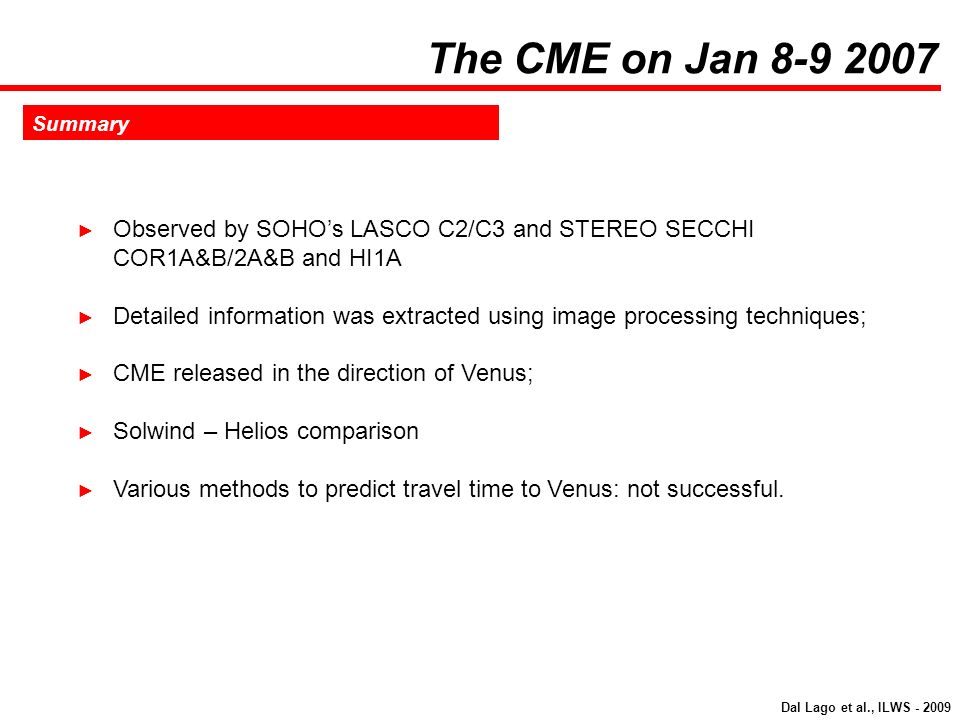 The CME on Jan 8-9 2007 Summary. Observed by SOHO's LASCO C2/C3 and STEREO SECCHI COR1A&B/2A&B and HI1A.