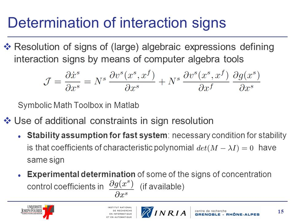 Determination of interaction signs