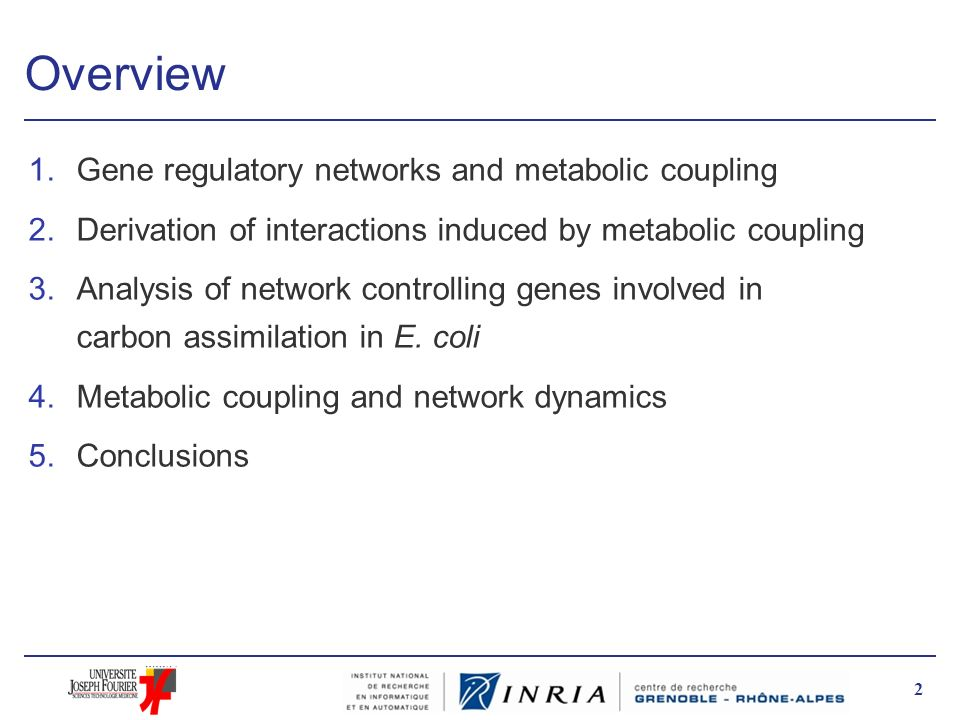 Overview Gene regulatory networks and metabolic coupling
