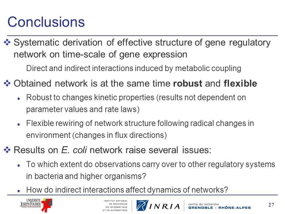 Conclusions Systematic derivation of effective structure of gene regulatory network on time-scale of gene expression.