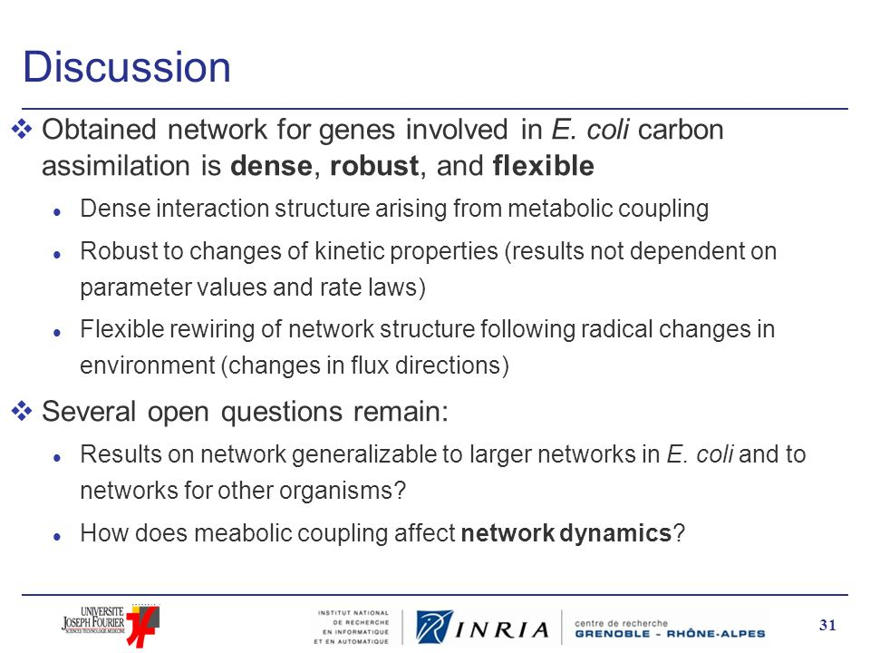 Discussion Obtained network for genes involved in E. coli carbon assimilation is dense, robust, and flexible.