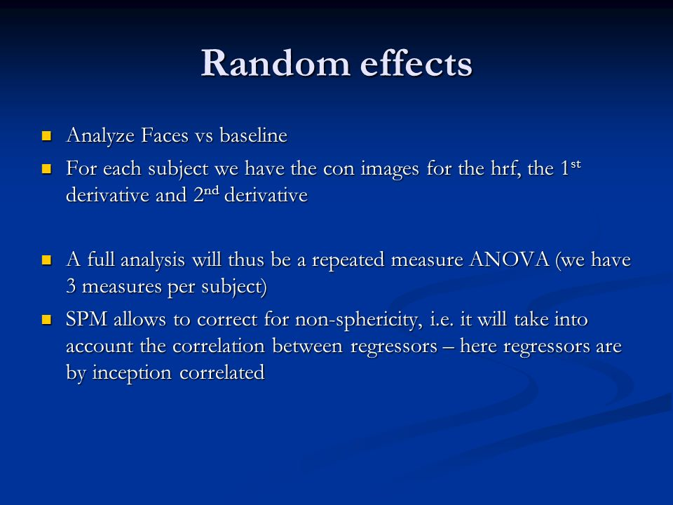 Random effects Analyze Faces vs baseline