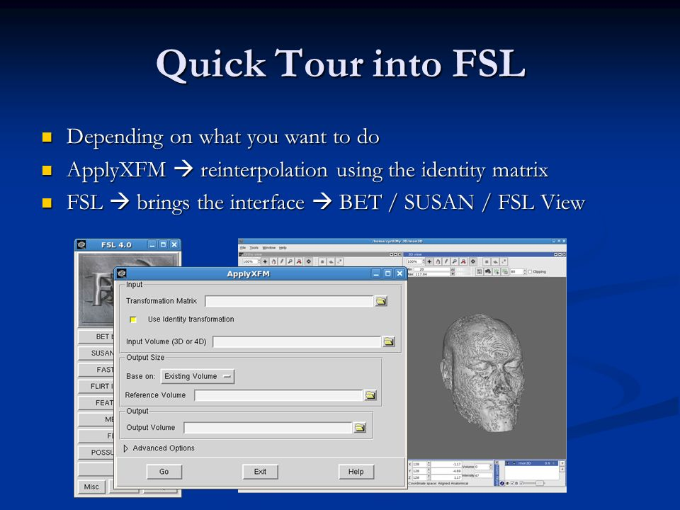 Quick Tour into FSL Depending on what you want to do
