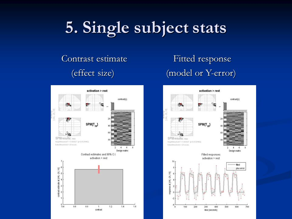 5. Single subject stats Contrast estimate (effect size)