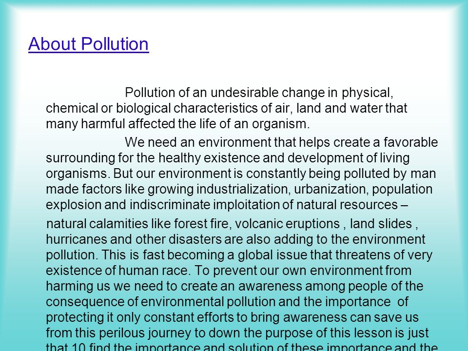 About Pollution