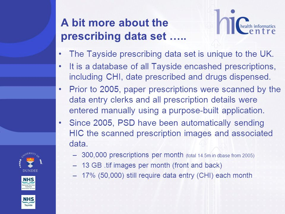 A bit more about the prescribing data set …..