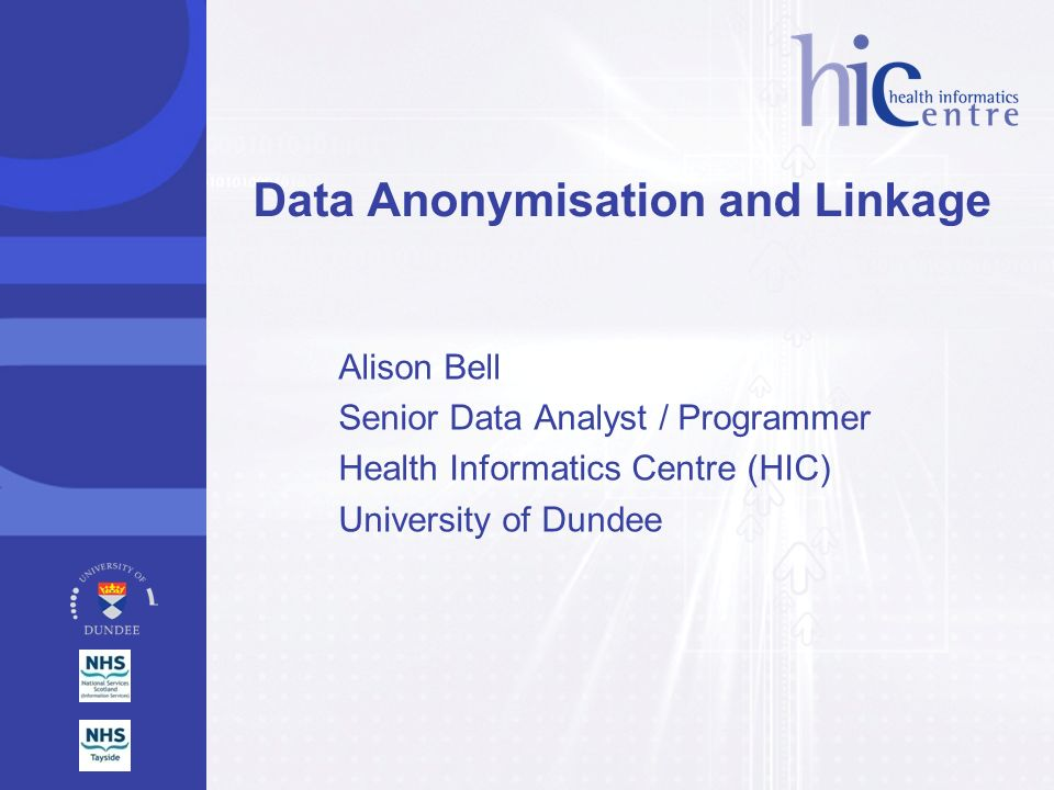 Data Anonymisation and Linkage