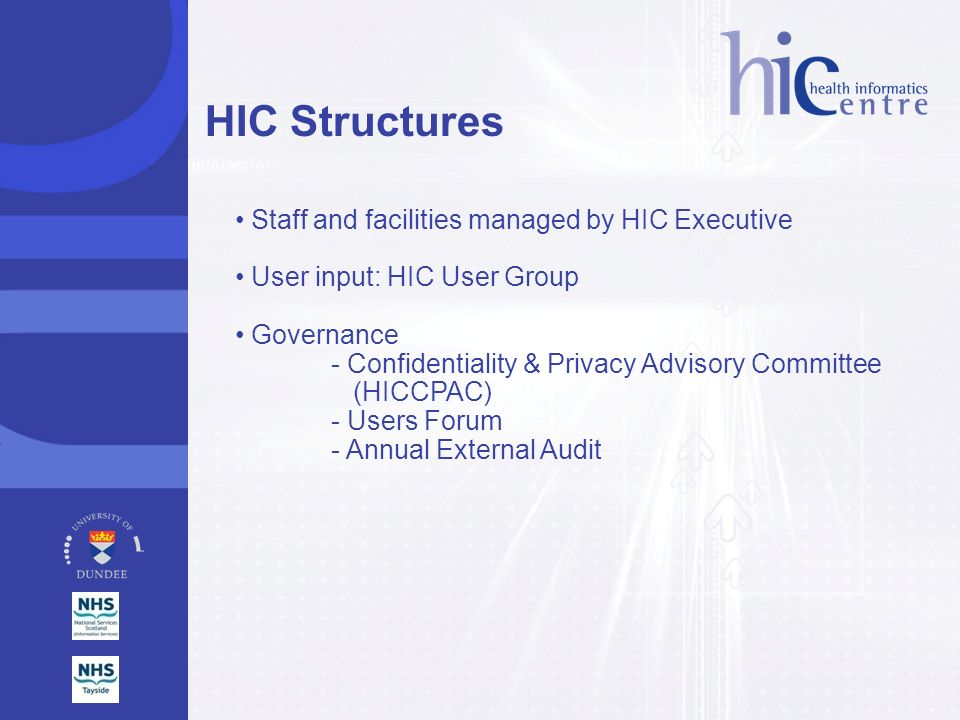 HIC Structures Staff and facilities managed by HIC Executive