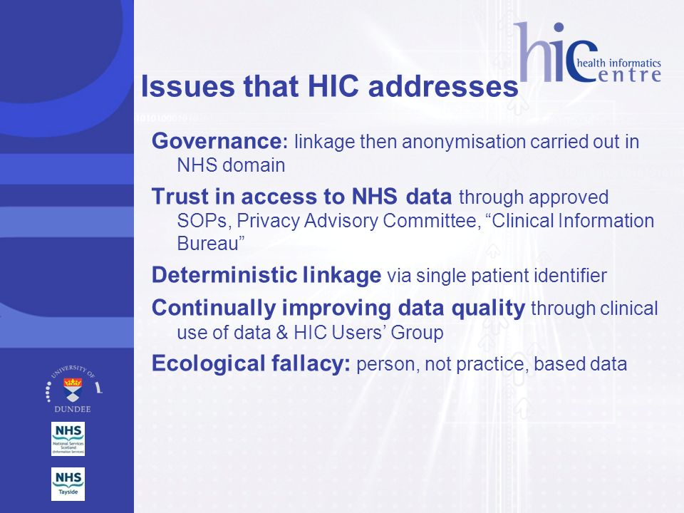 Issues that HIC addresses
