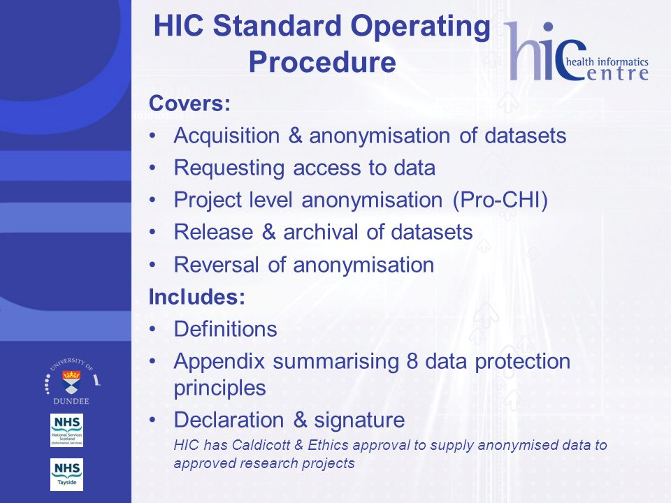 HIC Standard Operating Procedure