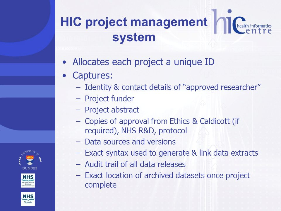 HIC project management system