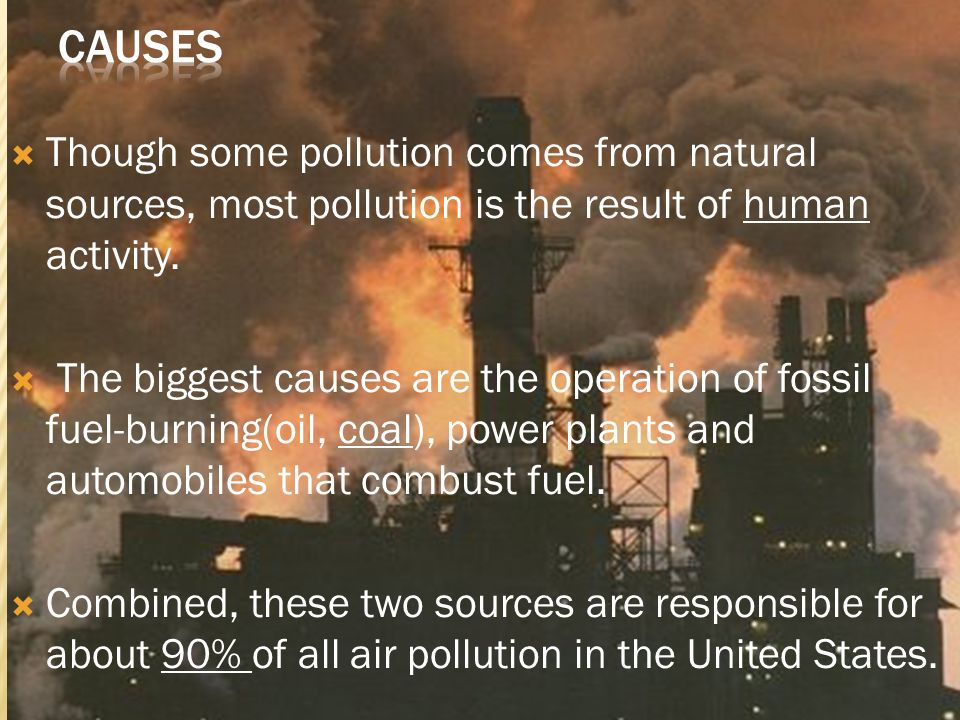Causes Though some pollution comes from natural sources, most pollution is the result of human activity.