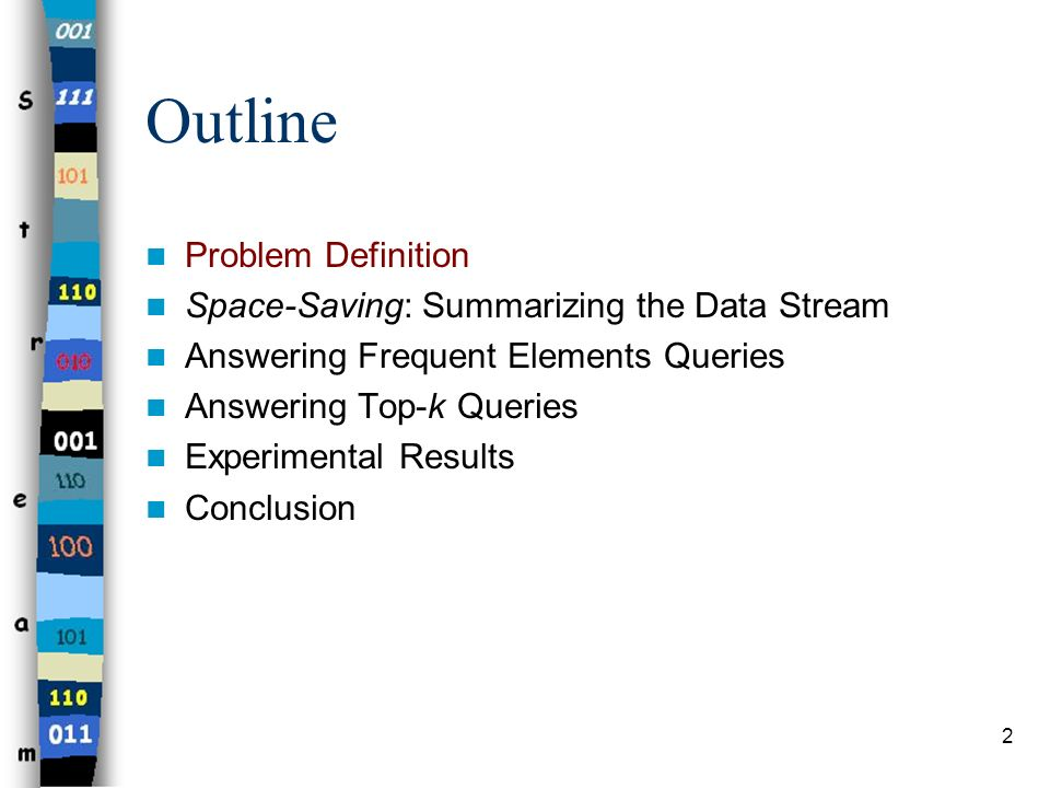 Outline Problem Definition Space-Saving: Summarizing the Data Stream