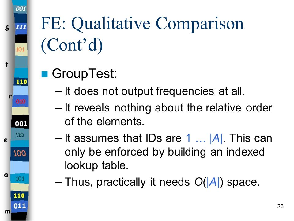 FE: Qualitative Comparison (Cont'd)