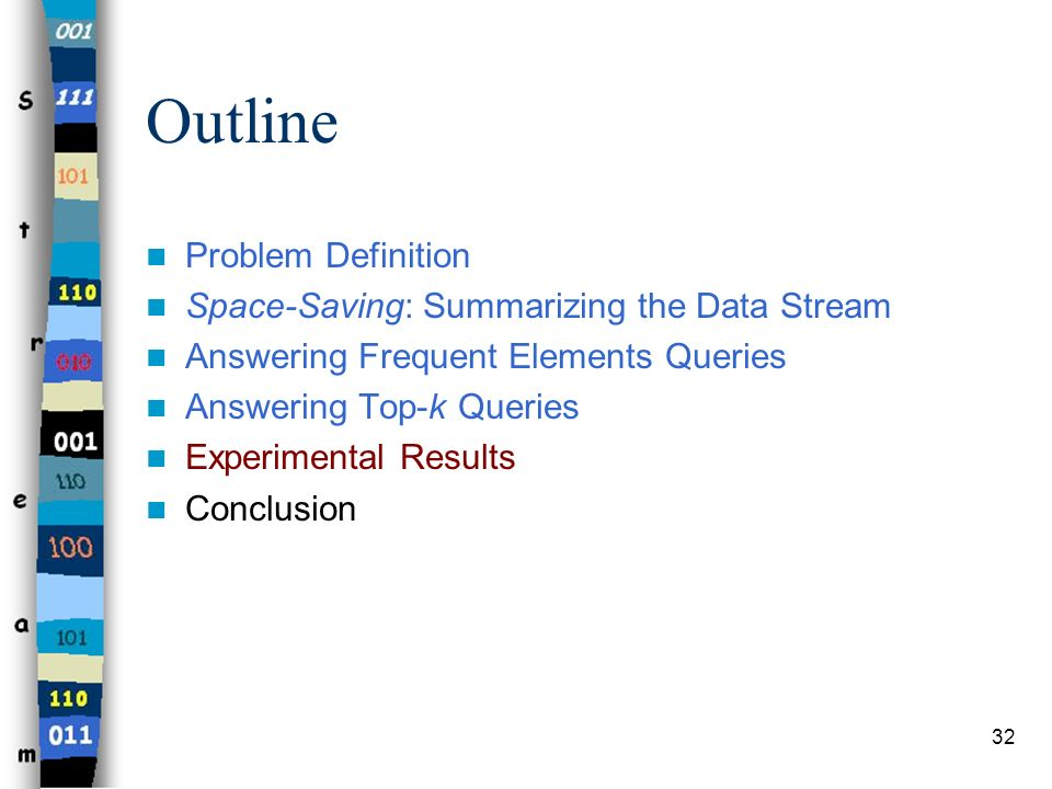 Outline Problem Definition Space-Saving: Summarizing the Data Stream