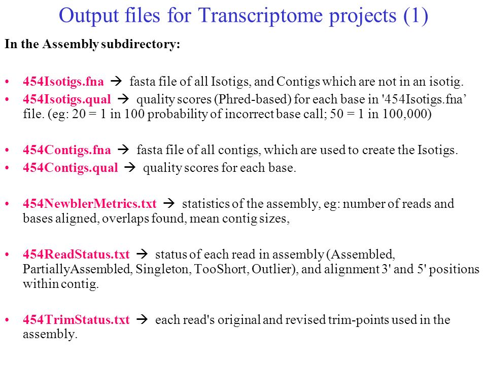 Output files for Transcriptome projects (1)