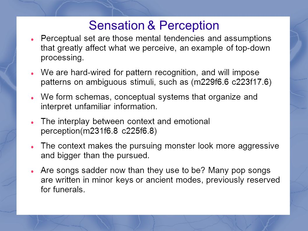 sensation and perception Sensation and perception is a cutting-edge, easy-to-understand account of the  modern sensation and perception field presented from both a cognitive and.