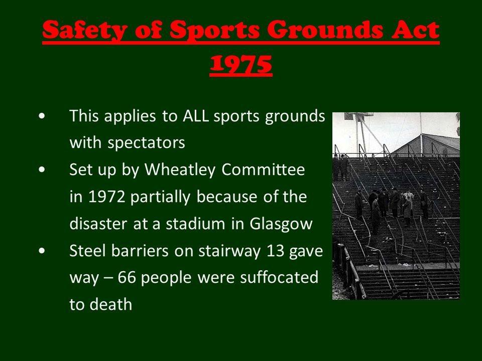 crowd safety in sports grounds Sports governing bodies have their own regulations for grounds dependent upon league status and crowd numbers in the united kingdom a pitch side crowd barrier must comply with the guidelines set out in the 'guide to safety at sports grounds.