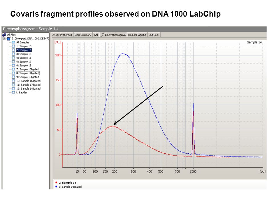 Covaris fragment profiles observed on DNA 1000 LabChip